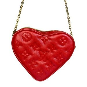 Louis Vuitton Heart on Chain Fall in Love red leather monogram empreinte LV bag